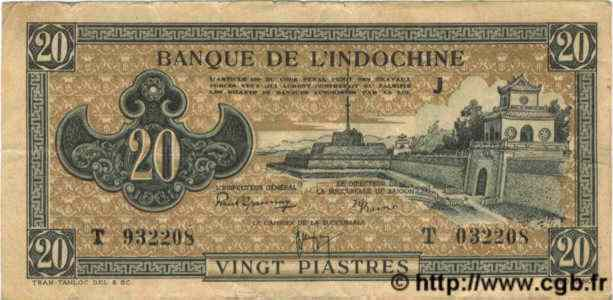 20 Piastres marron INDOCHINE FRANÇAISE  1945 P.071