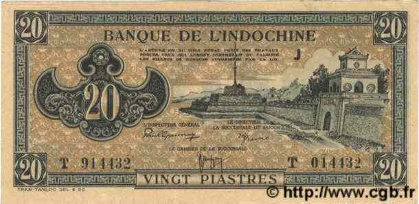 20 Piastres marron INDOCHINE FRANÇAISE  1945 P.071 SUP