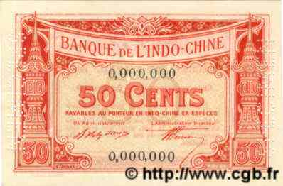 50 Cents INDOCHINE FRANÇAISE  1920 P.046s NEUF