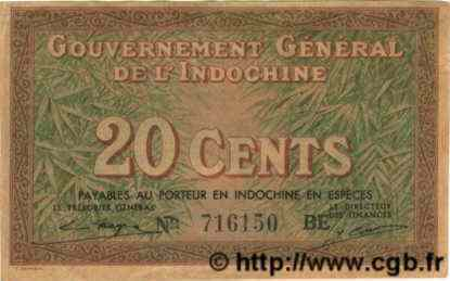 20 Cents INDOCHINE FRANÇAISE  1939 P.086d SUP
