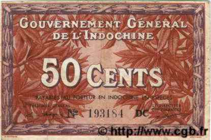 50 Cents INDOCHINE FRANÇAISE  1939 P.087d TTB
