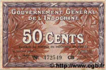 50 Cents INDOCHINE FRANÇAISE  1939 P.087d SUP
