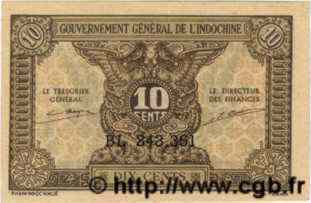 10 Cents INDOCHINE FRANÇAISE  1943 P.089 NEUF