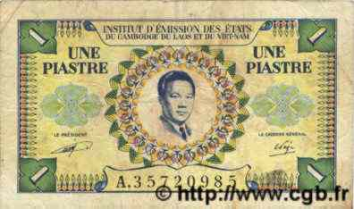 1 Piastre / 1 Dong INDOCHINE FRANÇAISE  1952 P.104 TB