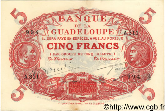 5 Francs Cabasson rouge GUADELOUPE  1944 P.07 SUP+