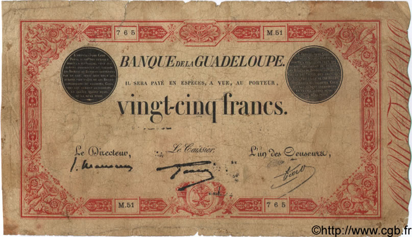25 Francs rouge  GUADELOUPE  1934 P.08 B