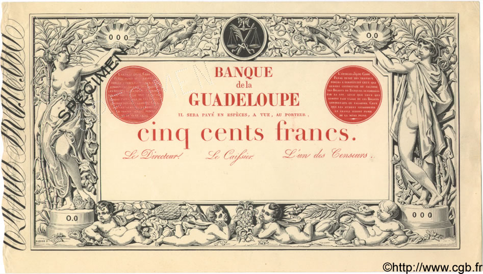 500 Francs GUADELOUPE  1887 P.10s SUP+