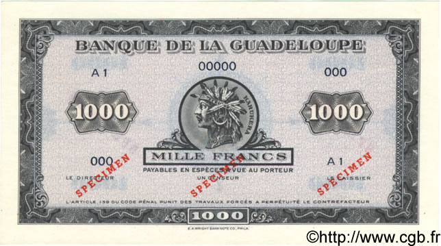 1000 Francs GUADELOUPE  1943 P.26As pr.NEUF