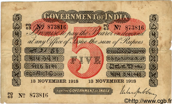 5 Rupees  INDE  1918 P.A06g TB