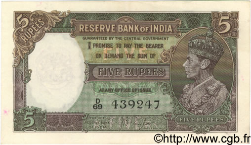 5 Rupees INDE  1937 P.018a SUP