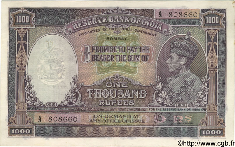 1000 Rupees INDE Bombay 1937 P.021a SUP