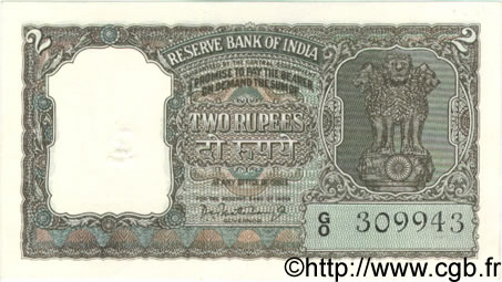 2 Rupees INDE  1962 P.031 SUP