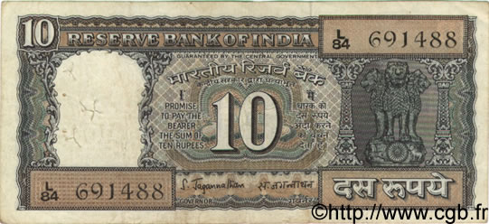 10 Rupees INDE  1970 P.059a TB