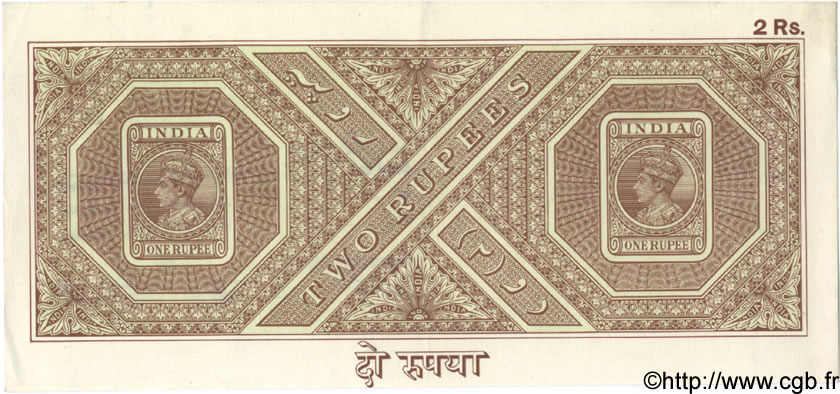 2 Rupees INDE  1943 P.... SUP