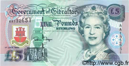 5 Pounds Sterling GIBRALTAR  1995 P.25 NEUF