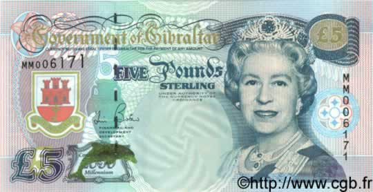 5 Pounds Sterling GIBRALTAR  2000 P.29 NEUF