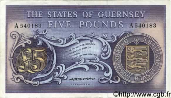 5 Pounds  GUERNESEY  1969 P.46b TTB+