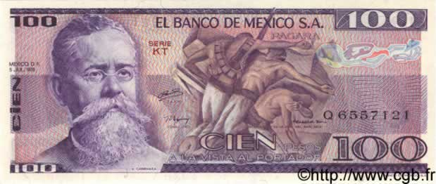 100 Pesos MEXIQUE  1978 P.066b