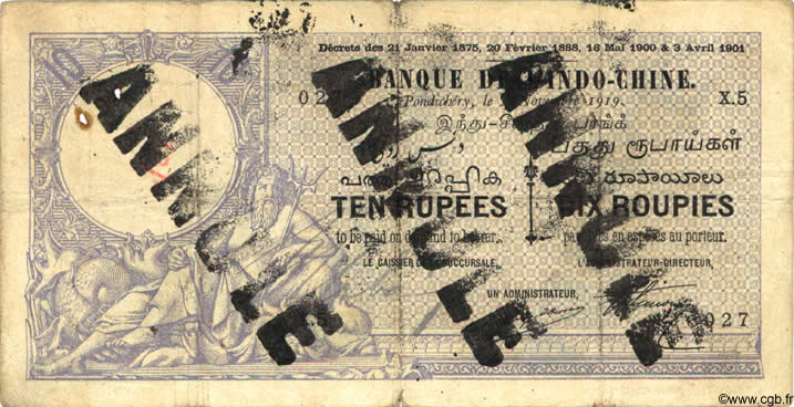 10 Rupees / 10 Roupies INDE FRANÇAISE  1919 P.002bs TB