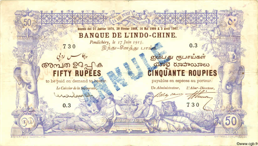 50 Rupees / 50 Roupies INDE FRANÇAISE  1915 P.003bs