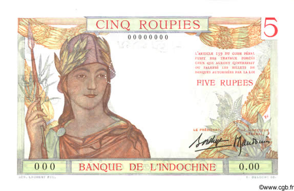 5 Roupies INDE FRANÇAISE  1936 P.005as pr.NEUF