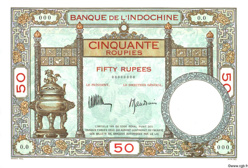 50 Roupies INDE FRANÇAISE  1932 P.007as NEUF