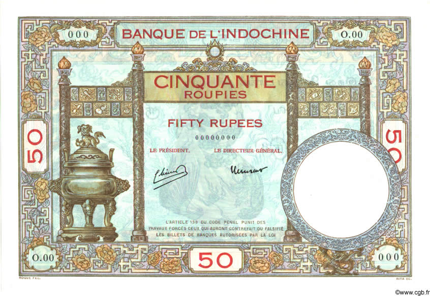 50 Roupies INDE FRANÇAISE  1932 P.007as