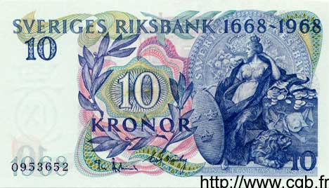 10 Kronor SUÈDE  1968 P.56a NEUF