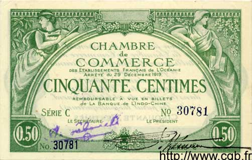 50 Centimes INDOCHINE FRANÇAISE  1919 P.002 NEUF