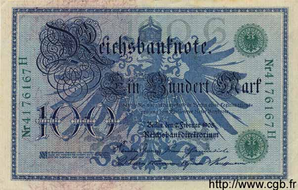 100 Mark ALLEMAGNE  1908 P.034 SUP