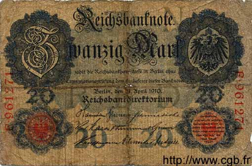 20 Mark ALLEMAGNE  1910 P.040a AB
