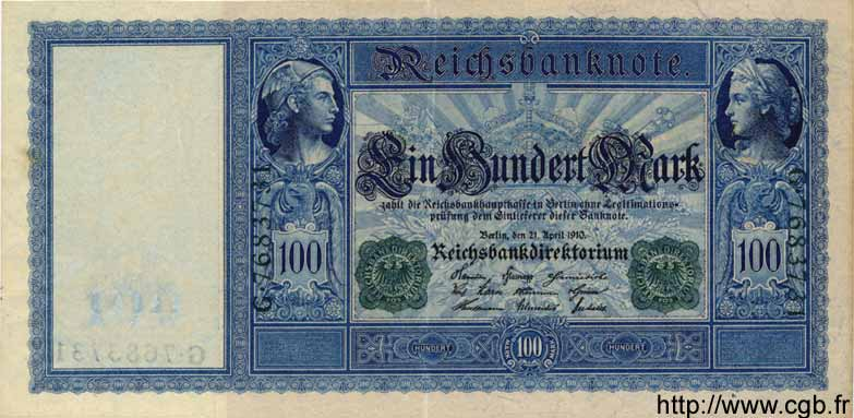 100 Mark ALLEMAGNE  1910 P.043 SUP