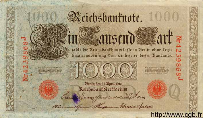1000 Mark ALLEMAGNE  1910 P.044b TB