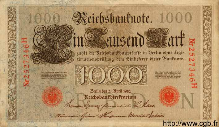 1000 Mark ALLEMAGNE  1910 P.044b SUP