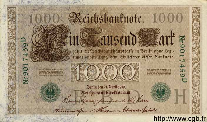 1000 Mark ALLEMAGNE  1910 P.045b SUP
