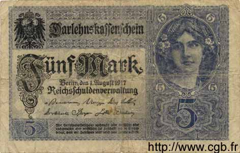 5 Mark ALLEMAGNE  1917 P.056a B
