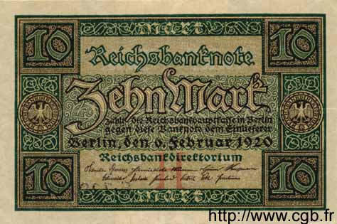 10 Mark ALLEMAGNE  1920 P.067a SUP