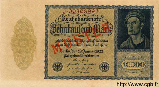 10000 Mark ALLEMAGNE  1922 P.072s NEUF