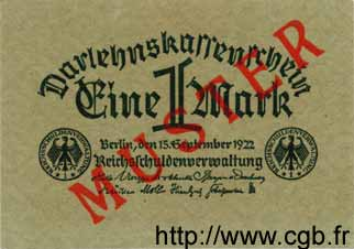 1 Mark ALLEMAGNE  1922 P.061as NEUF
