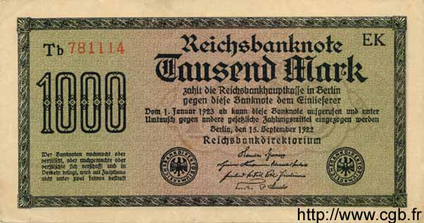 1000 Mark ALLEMAGNE  1922 P.076f SUP