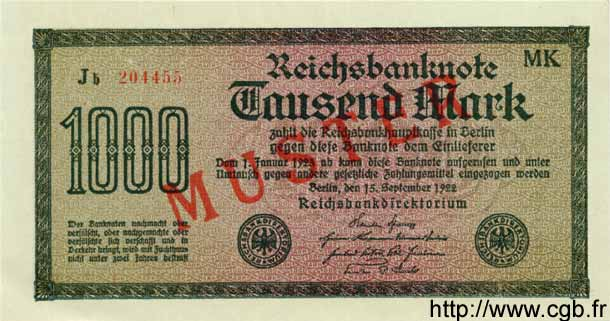 1000 Mark ALLEMAGNE  1922 P.076gs NEUF
