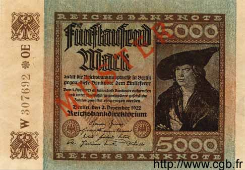 5000 Mark ALLEMAGNE  1922 P.081as NEUF