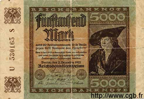 5000 Mark ALLEMAGNE  1922 P.081a B