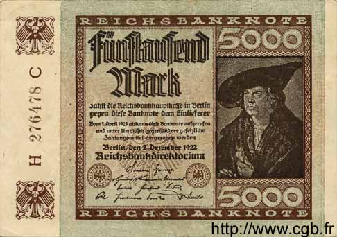 5000 Mark ALLEMAGNE  1922 P.081a SUP