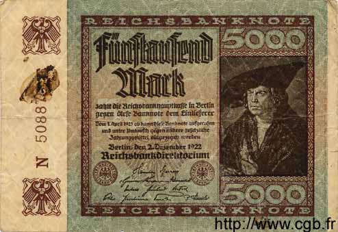 5000 Mark ALLEMAGNE  1922 P.081b TB