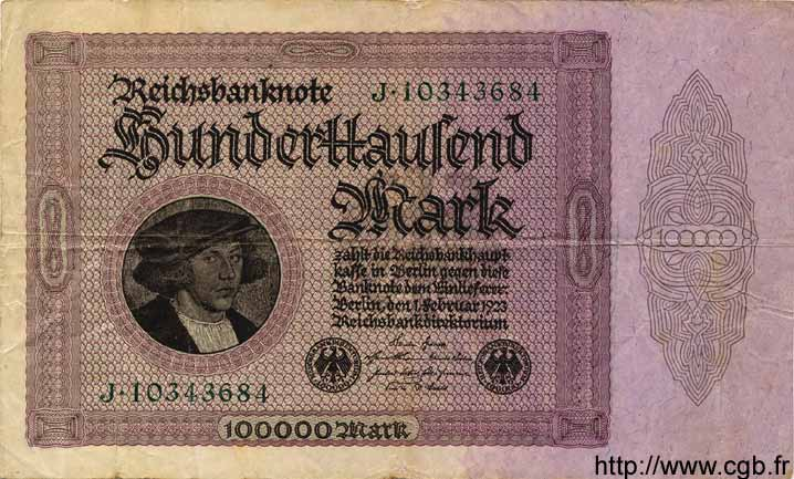 100000 Mark ALLEMAGNE  1923 P.083a TB