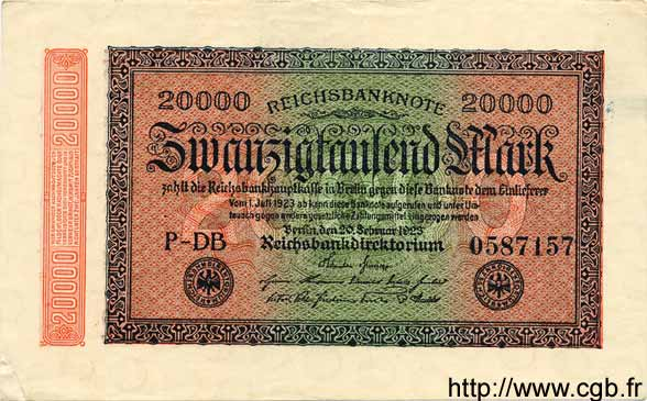20000 Mark ALLEMAGNE  1923 P.085a SUP