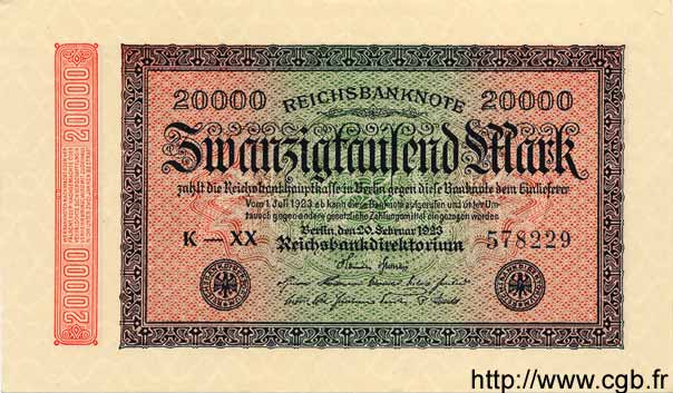 20000 Mark ALLEMAGNE  1923 P.085c NEUF
