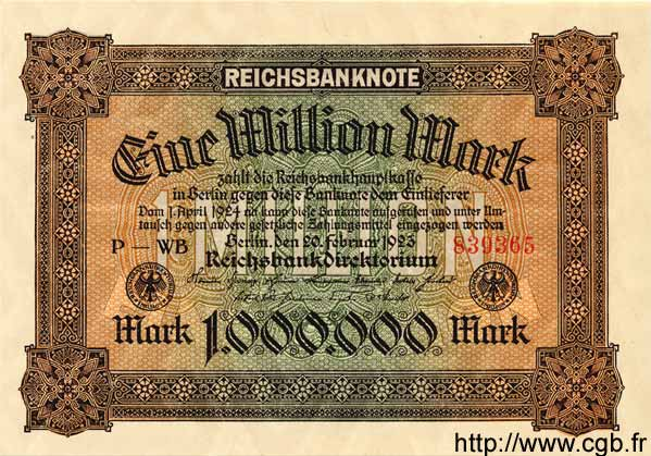 1 Million Mark ALLEMAGNE  1923 P.086a NEUF