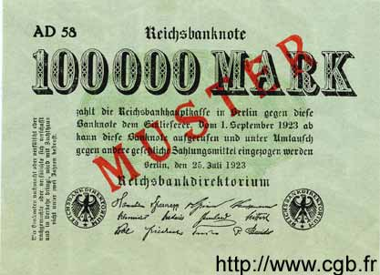 100000 Mark ALLEMAGNE  1923 P.091as pr.NEUF